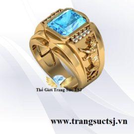 Nhẫn vàng tay nam đá topaz xanh hợp mệnh thủy