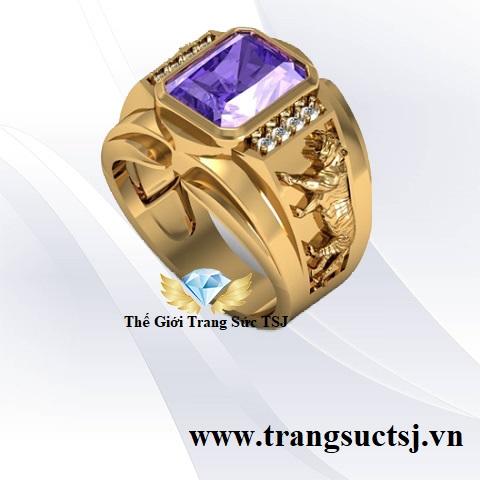 Nhẫn cọp đẹp cho nam mặt đá chữ nhật