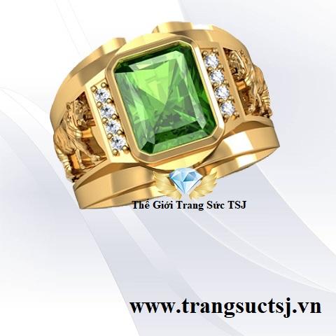 Nhẫn đeo tay nam đá Sapphire xanh lá