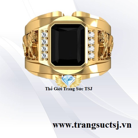 Nhẫn nam đá sapphire đen thiên nhiên