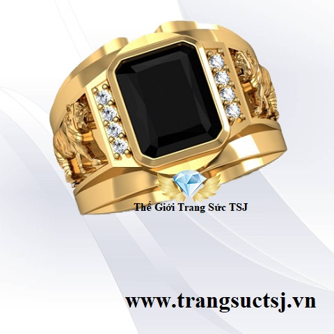 Nhẫn nam phong thuỷ đá sapphire đen đẹp