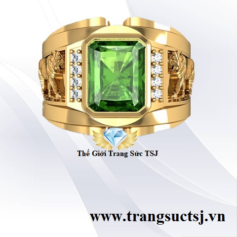 Nhẫn nam sapphire xanh lá hợp phong thủy