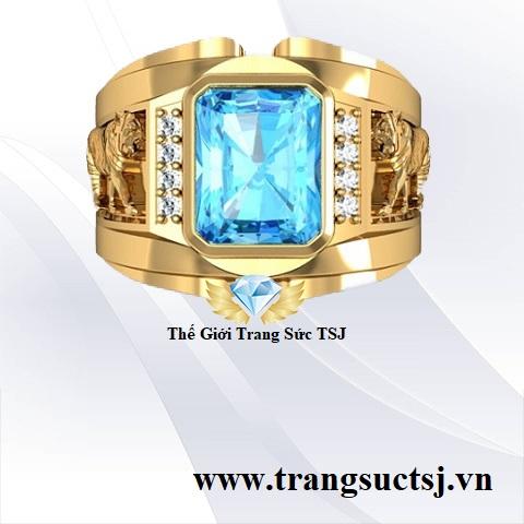 Nhẫn phong thủy nam sang trọng đính đá topaz xanh