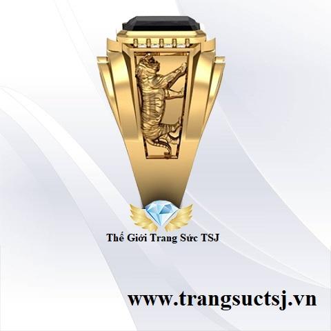 Nhẫn sapphire nam tuổi hổ vàng 18k