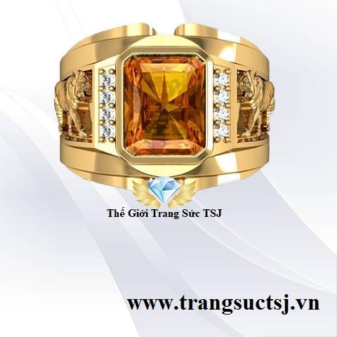 Nhẫn tuổi dần mặt đá citrine vàng hợp mệnh kim trang sức TSJ
