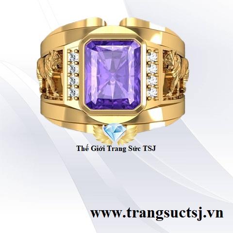 Nhẫn Vàng 18K Nam Thời Trang Đá Thạch Anh Tím