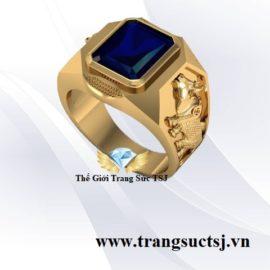 Nhẫn Nam Sapphire Xanh Bích Hình Sửu