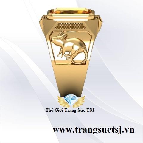 Nhẫn Chuột Phong Thủy Mặt Đá Vàng