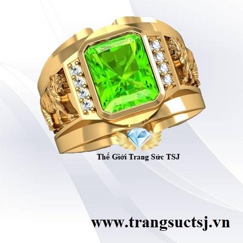 Nhẫn Cọp Đá Peridot - Nhẫn mặt đá xanh lá