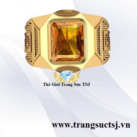 Nhẫn Nam Citrine Vàng Hợp Phong Thủy