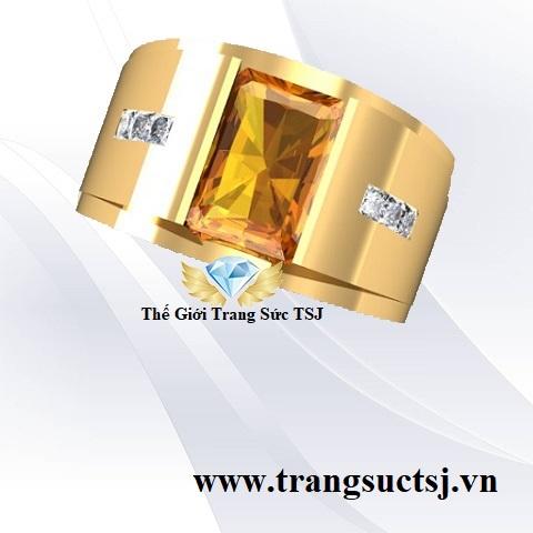 Nhẫn Nam Đá Citrine Vàng Đẹp - Trang Sức TSJ