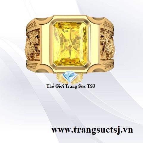 Nhẫn Nam Sapphire Vàng Hiện Đại