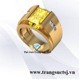 Nhẫn Nam Đá Sapphire Vàng Thiên Nhiên Đẹp Trang Sức TSJ
