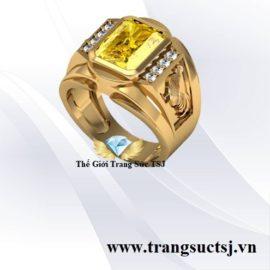 Nhẫn Nam Tuổi Dậu 1993 Mệnh Kim Mặt Đá Sapphire Vàng Cao Cấp