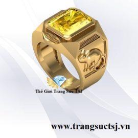 Nhẫn Sapphire Vàng Hợp Mệnh Kim Cho Nam Tuổi Tý