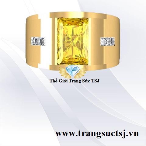 Mua Nhẫn Nam Đá Sapphire Vàng Đẹp TPHCM