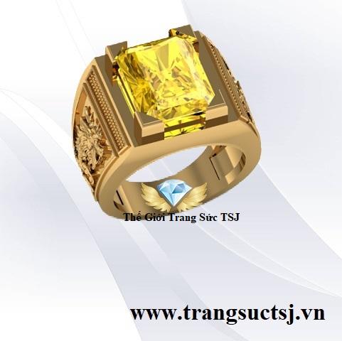 Nhẫn Hợp Phong Thủy Cho Nam - Nhẫn Sapphire Vàng