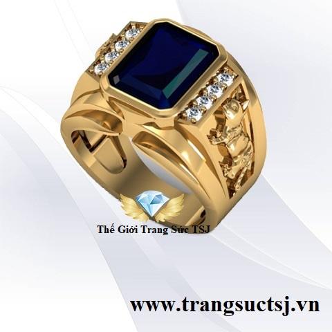 Nhẫn Nam Cao Cấp Đá Sapphire Xanh Bích