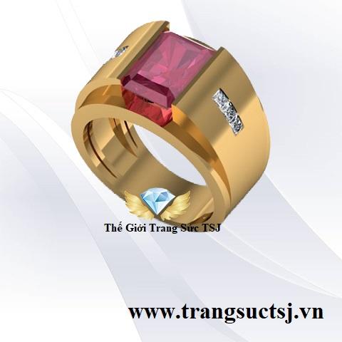 Nhẫn Nam Đá Ruby Đỏ Hợp Phong Thủy