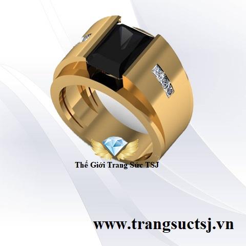 Nhẫn Nam Đá Sapphire Đen Sang Trọng Trang Sức TSJ