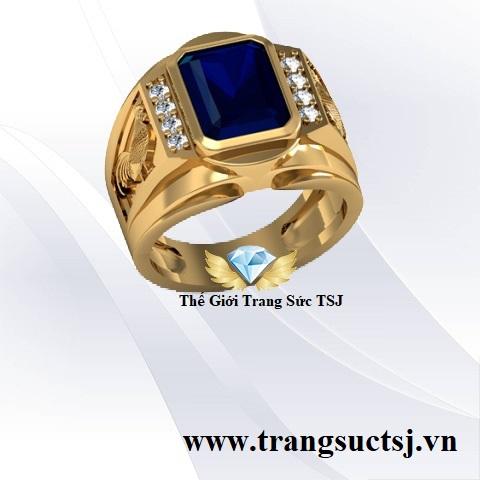 Nhẫn Nam Hợp Mệnh Mộc, Mệnh Thủy Đá Sapphire Xanh Bích