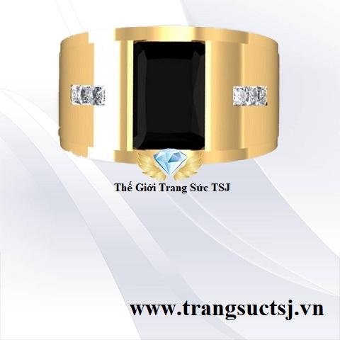 Nhẫn Nam Mặt Đá Sapphire Đen - Trang Sức TSJ