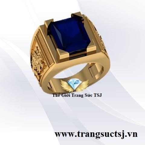 Nhẫn Nam Sang Trọng Mặt Đá Sapphire Xanh Bích
