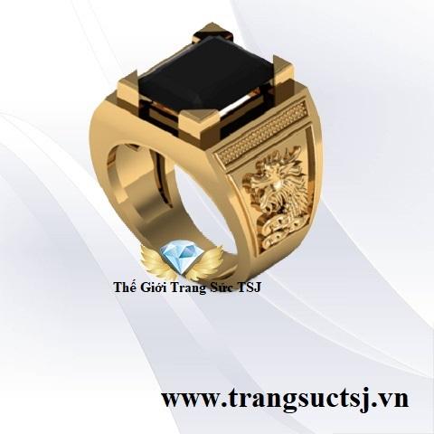 Nhẫn Nam Sapphire Đen Hình Rồng Nam - Trang Sức TSJ