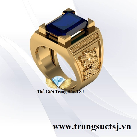 Nhẫn Nam Sapphire Xanh Bích Sang Trọng - Thế Giới Trang Sức TSJ