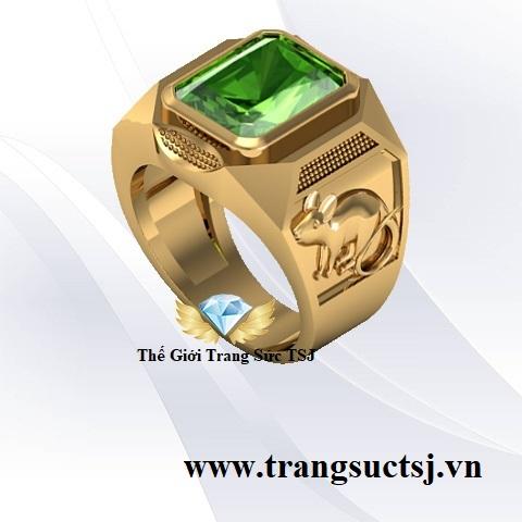 Nhẫn Nam Sapphire Xanh Hợp Mệnh Mộc Cho Nam Tuổi Tý