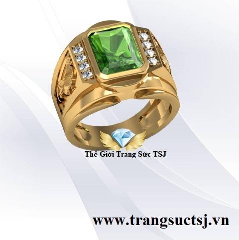 Nhẫn Nam Sapphire Xanh Lá Hợp Thời Trang