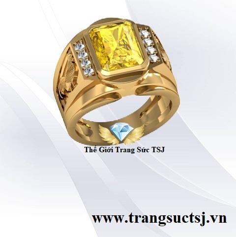 Nhẫn Nam Tuổi Dậu 1993 Mệnh Kim Mặt Đá Sapphire Vàng