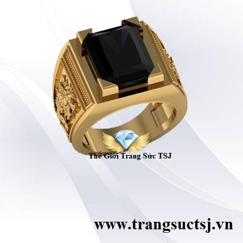 Nhẫn Sapphire Đen Nam Trang Sức Vàng Hiện Đại
