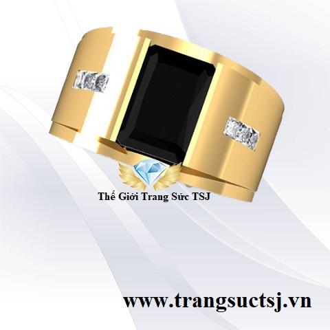 Nhẫn Vàng 18K Nam Đá Sapphire Đen Chữ Nhật