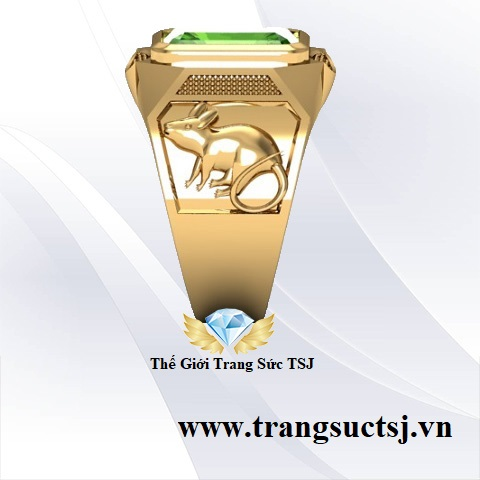 Nhẫn Vàng 18k Nam Đẹp Đính Đá Sapphire Xanh Lá