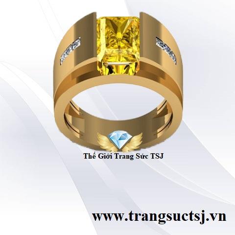 Nhẫn Vàng Nam Đẹp Đá Sapphire Vàng