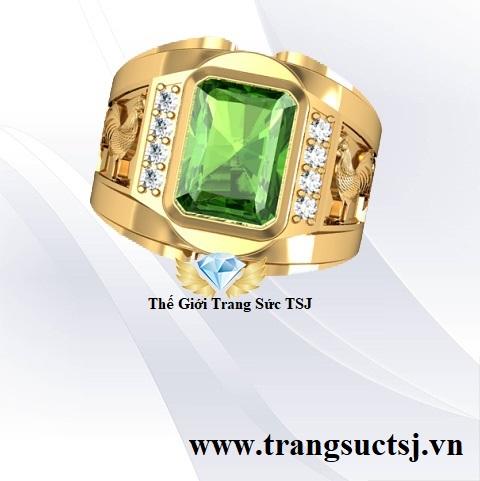 Trang Sức Vàng Nam Đẹp - Nhẫn Nam Sapphire Xanh Lá