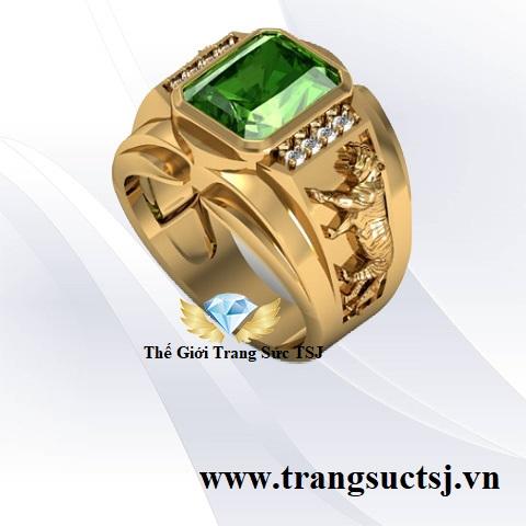 Trang Sức vàng nam nhẫn hình cọp sapphire xanh lá sang trọng