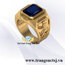 Nhẫn Cho Nam Tuổi Thân Mệnh Mộc Đá Sapphire Xanh Bích