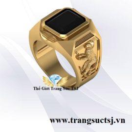 Nhẫn Nam Canh Thân 1980 Mệnh Mộc Mặt Đá Sapphire