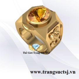Nhẫn Nam Đinh Tỵ Mệnh Thổ Đá Citrine Vàng