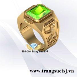 Nhẫn Nam Hình Khỉ Đẹp - Vàng 18k Đá Peridot