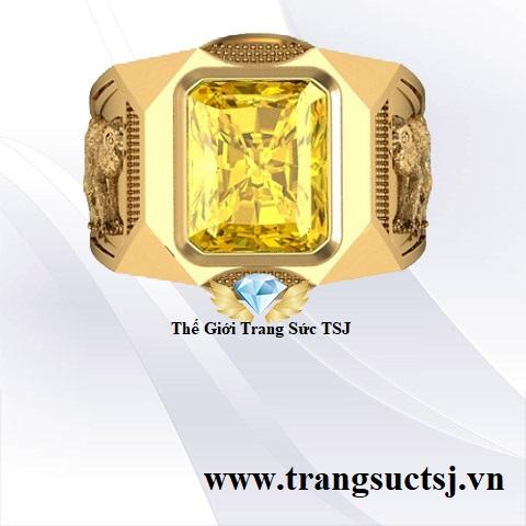 Nhẫn Đá Quý Nam Hợp Phong Thủy Đính Đá Sapphire Vàng