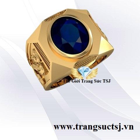Nhẫn đẹp Cho Nam Tuổi Tý Đá Sapphire Xanh Bích