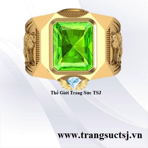 Nhẫn Nam 12 Con Giáp Theo Phong Thủy Đính Đá Peridot