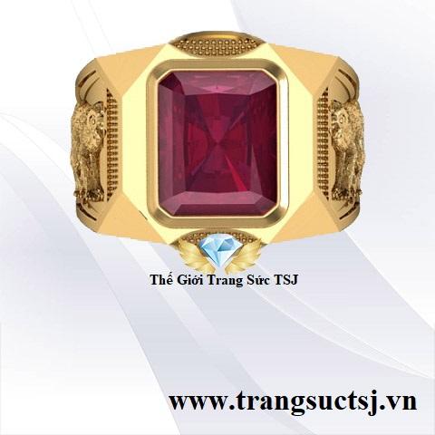 Nhẫn Nam Đá Quý Thời Trang Đá Ruby Đỏ - Thế Giới Trang Sức TSJ