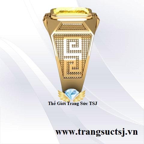 Nhẫn Nam Hiện Đại Đính Đá Sapphire Vàng Đẹp