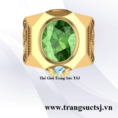 Nhẫn Nam Hình Rắn Đá Sapphire Xanh Lá Mệnh Mộc