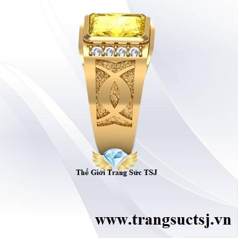 Nhẫn Nam Mặt Đá Sapphire Vàng Thiên Nhiên Chính Gốc