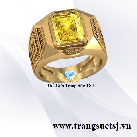 Nhẫn Nam Mặt Đá Saphire Vàng Thời Trang